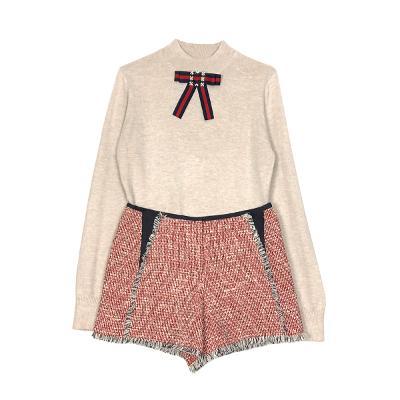 ribbon broach knit & tweed shorts